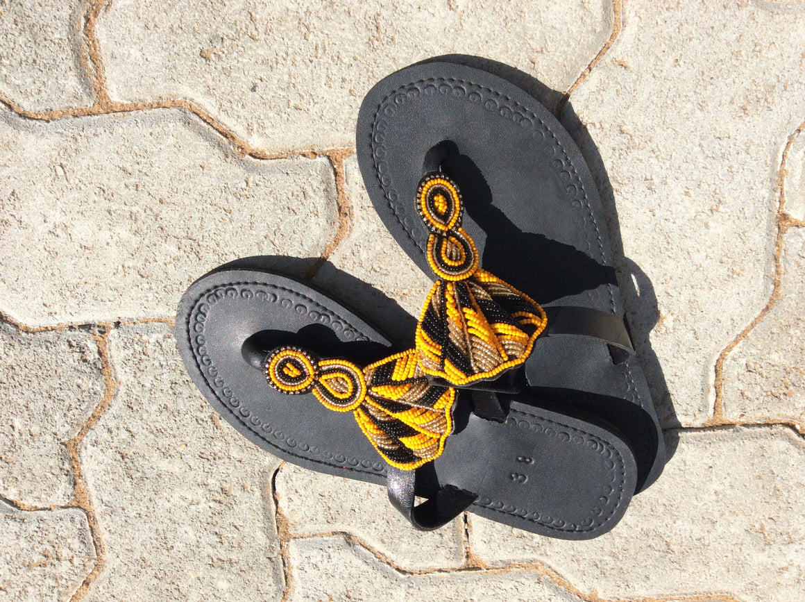 Hand Beaded Leather Sandals Shells Design