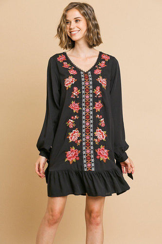 Serenity Floral Embroidered Dress | More Colors