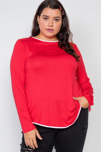 Genevieve Curvy Contrast Top | More Colors