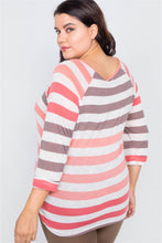 Load image into Gallery viewer, Eden Curvy Sheer Stripe Top | More Colors