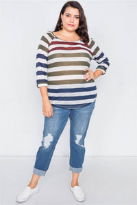 Eden Curvy Sheer Stripe Top | More Colors