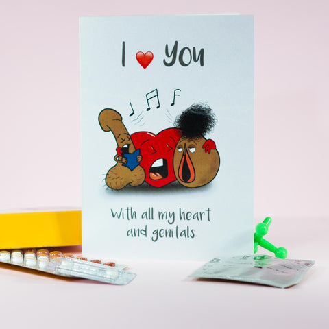 Love Themed Gift Card - With all my heart and genitals