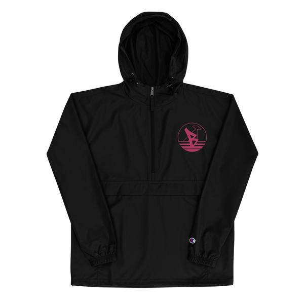 BAYLIENS - EMBROIDERED WIND BREAKER (black/flamingo)