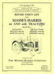 MASSEY HARRIS 44 & 44K Tractor Repair Part List Manual