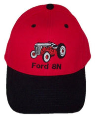 Ford 8N Tractor Embroidered Red & Black Hat - Cap Gift Fits Most