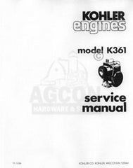 Kohler K361 18 HP 231 One Cyl. Engine Service Manual