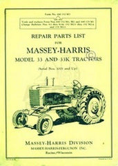 MASSEY HARRIS 33 K 33K Tractor Repair Part List Manual