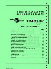 John Deere Model 60 Tractor Service Shop Repair Manual