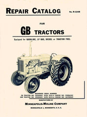 Minneapolis Moline GB GBD Tractor Parts Manual Catalog