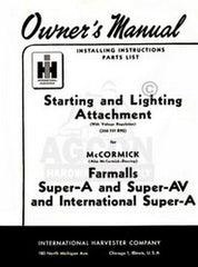 INTERNATIONAL FARMALL Super A Starting Lighting Manual