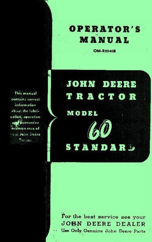 John Deere Model 60 Tractor Standard Gas All Fuel Operators Manual SN 6043000