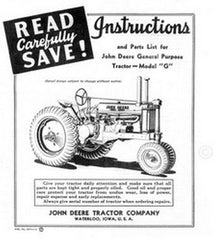 John Deere Model G GP Operators and Parts List Manual