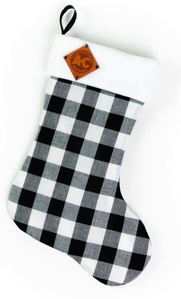 Plaid Allis Chalmers Christmas Stocking, Faux Leather vintage logo