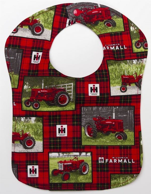 Red Plaid Farmall Tractor Snap Baby Bib