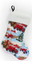Farmall Tractor Winter Farm Scene Christmas Stocking