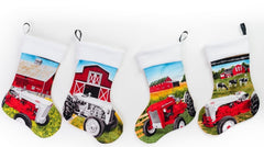 Set of Four Christmas Stockings of Ford Tractors