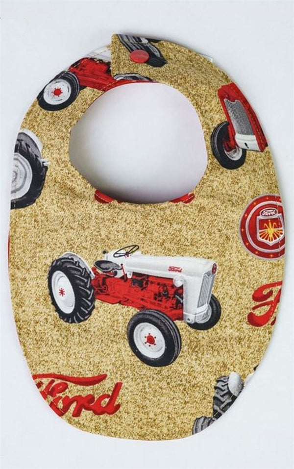Tan Ford Tractor Snap Baby Bib