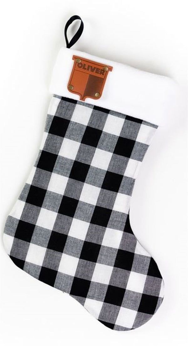 Faux Leather Vintage Emblem Oliver Plaid Christmas Stocking