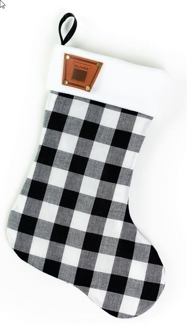 Plaid Oliver Christmas Stocking Faux Leather Keystone Emblem