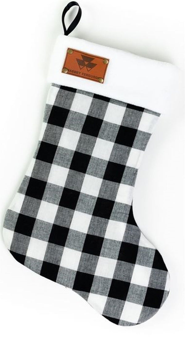 Buffalo Plaid Christmas Stocking with Massey Ferguson Faux Leather Emblem