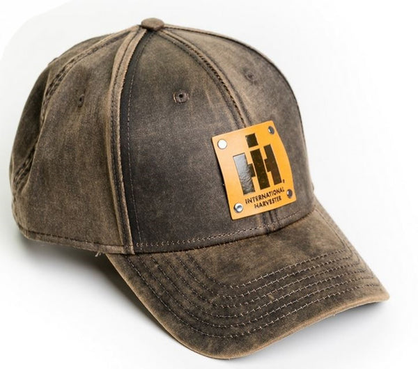 Oil Distressed International Harvester Faux Leather Emblem Hat