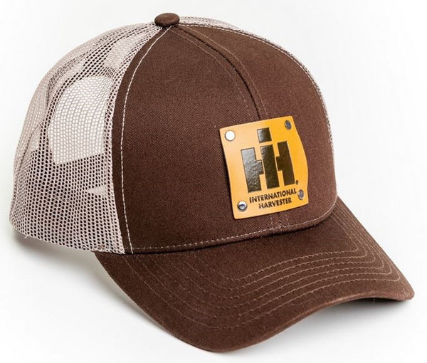Brown International Harvester Faux Leather Emblem Hat With White Mesh Back