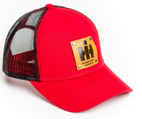 Red International Harvester Faux Leather Emblem Hat with Black Mesh Back