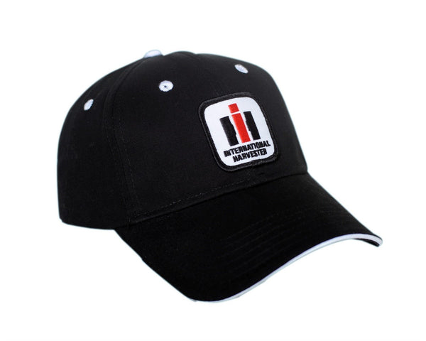 International Harvester Logo Solid Black Hat With White Accents Cap Gift IH