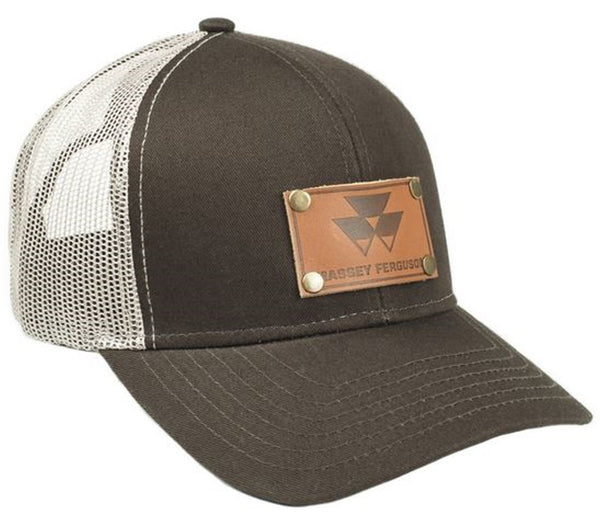 Brown Massey Ferguson Faux Leather Emblem Hat With Mesh