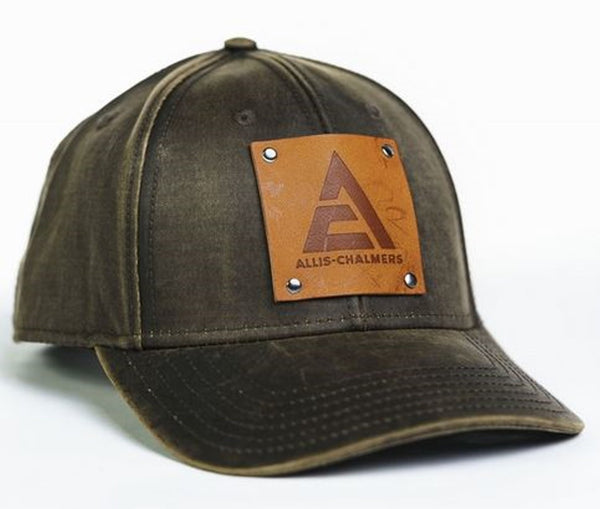 Oil Distressed Allis Chalmers New Logo Hat With Faux Leather Emblem