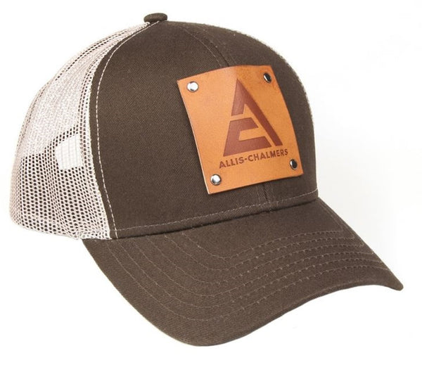 Brown with White Mesh Allis Chalmers Logo Hat Faux Leather Emblem