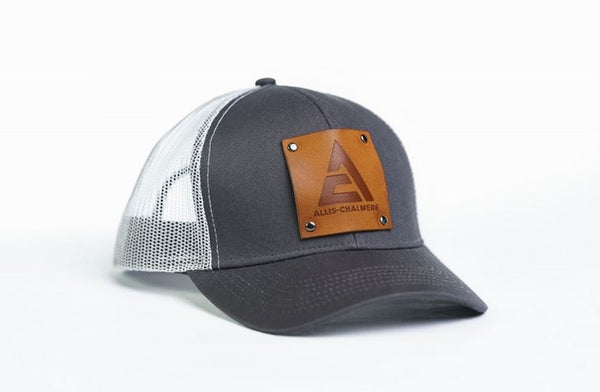 Gray Allis Chalmers New Logo Hat With Leather Emblem With White Mesh