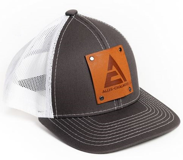 Gray and White Mesh Allis Chalmers Faux Leather Emblem Youth Hat