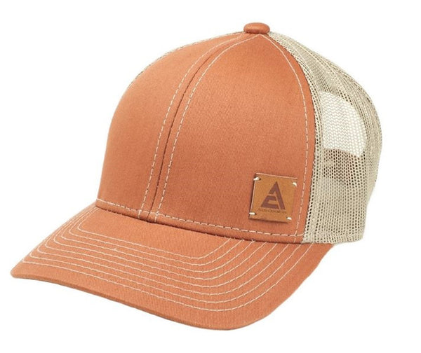 Burnt Orange Allis Chalmers Hat With Faux Leather New Style Logo