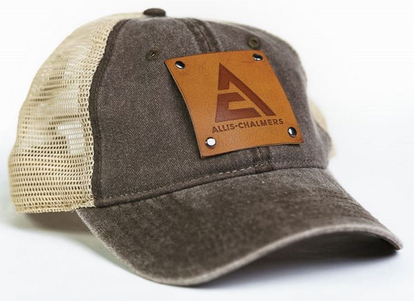 Brown Mesh Allis Chalmers Logo Hat with Faux Leather Emblem