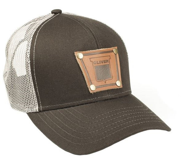Brown Keystone Oliver Faux Leather Emblem Hat With Mesh Back