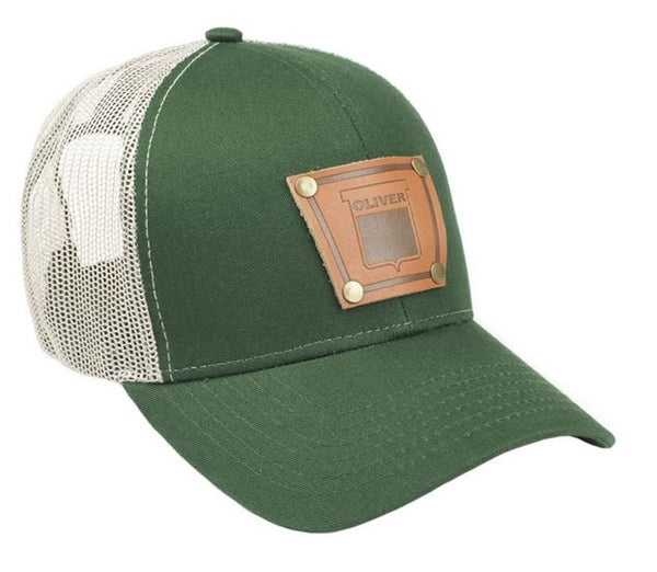 Green Keystone Oliver Faux Leather Emblem Hat With Mesh Back
