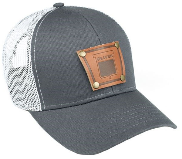 Gray Keystone Oliver Faux Leather Emblem Hat With White Mesh