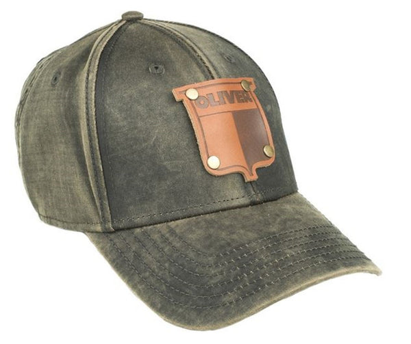 Oil Distressed Vintage Oliver Faux Leather Emblem Hat