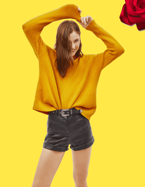 Casual Oversized Mustard Sweater