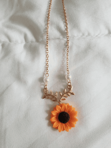 Leaves and Sunflower Necklace