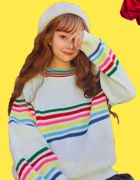Rainbow Aesthetic Striped Sweater