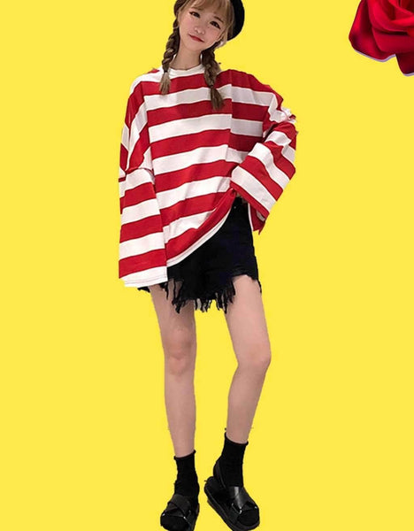 Red And White Striped Long Sleeve Oversized Sweatshirt