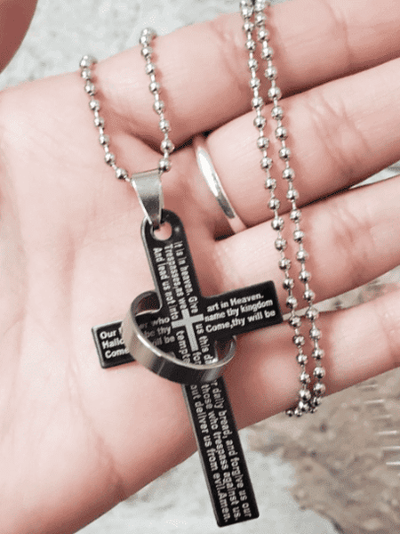Ring and Cross Religious Necklace