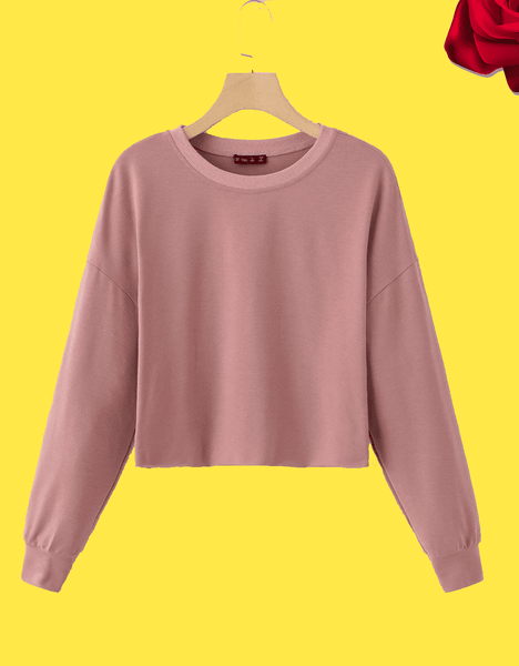 Simple Pullover Crop Sweater