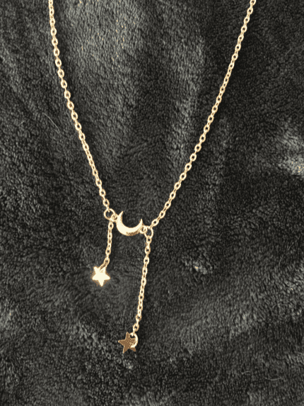 Stars Dangling from Moon Necklace
