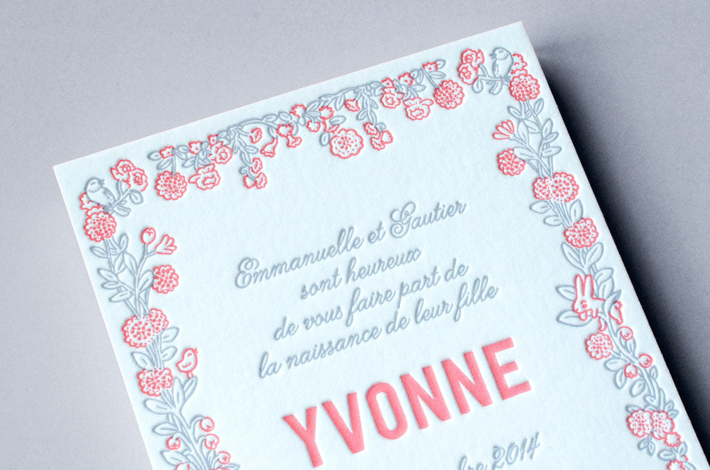 faire-part letterpress, Letterpress de Paris