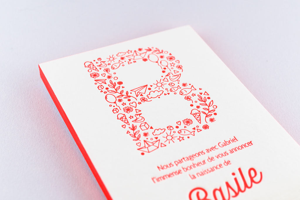 Impression Letterpress de Paris, faire-part de naissance