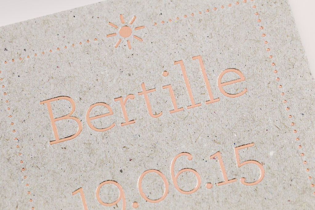Faire-part de naissance Letterpress de Paris Bertille
