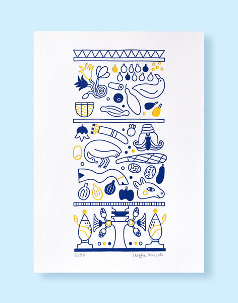 "Affiche letterpress ""Frigo Egyptien"", imprimée en 2 couleurs, illustration Steffie Brocoli - Édition LETTERPRESS DE PARIS"